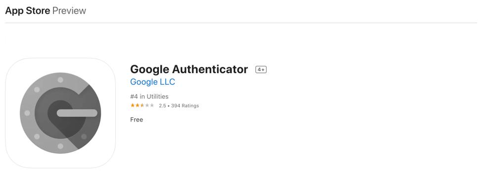 L'application Google Authenticator 2FA.