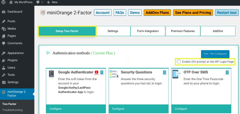 L'option pour activer 2FA à partir de la page de connexion WP.