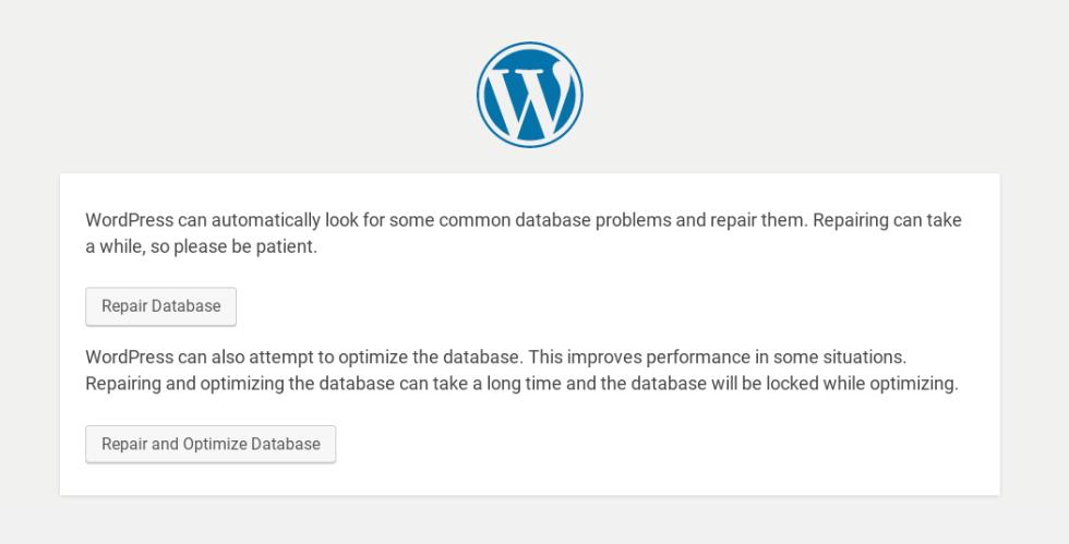 Options d'optimisation et de réparation de la base de données WordPress.