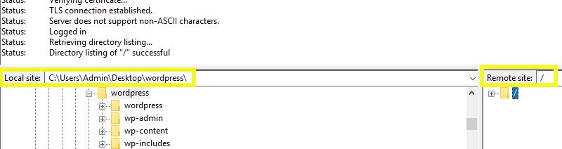 Fichiers locaux dans FileZilla.