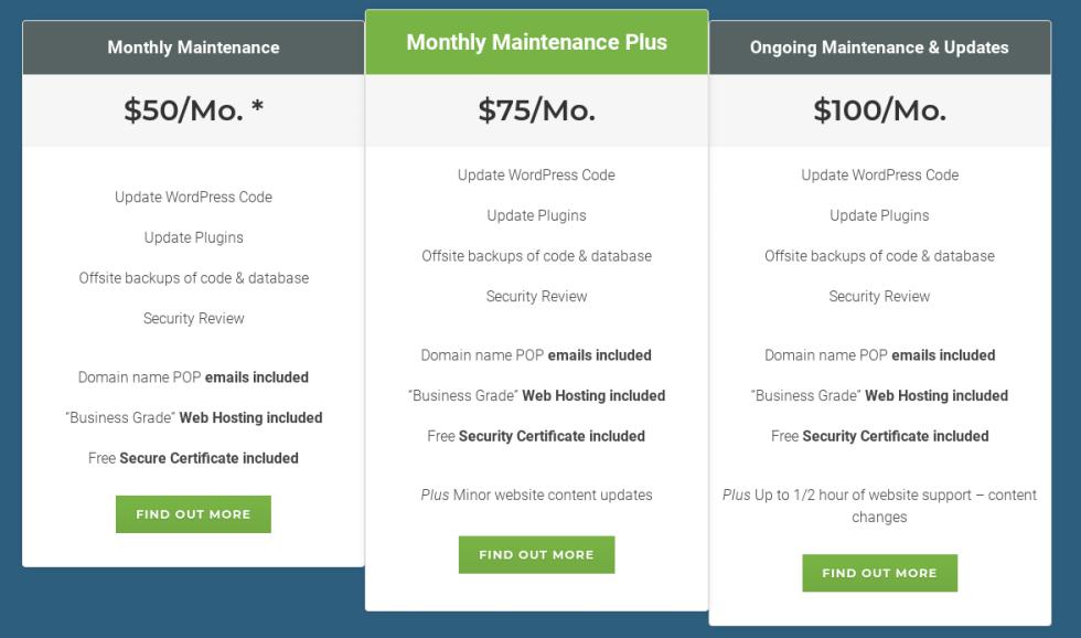Forfaits de service de maintenance WordPress et plans tarifaires.