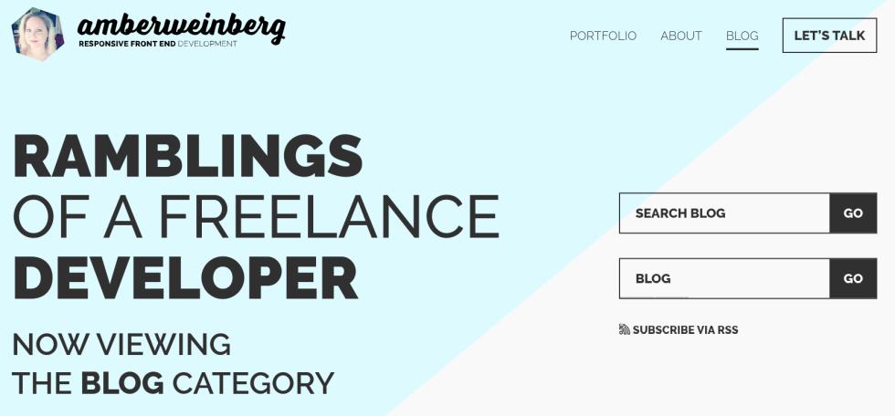 Site Web d'un développeur indépendant avec un blog.