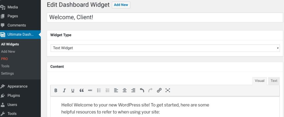 Ajout d'un nouveau widget avec le plugin Ultimate Dashboard dans WordPress.