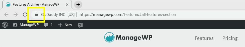 Une URL sécurisée dans la barre du navigateur.
