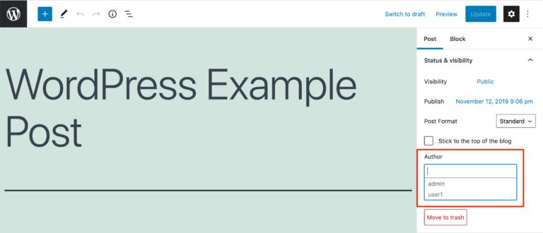 Changer l'auteur dans l'éditeur de blocs WordPress.