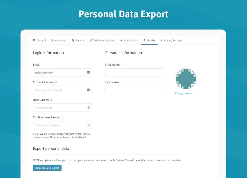 Exportation des données personnelles