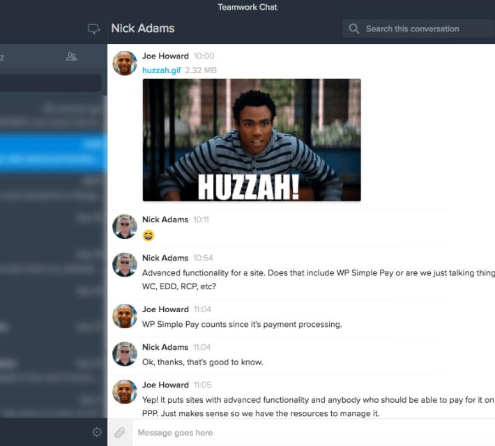 Capture d'écran de la discussion sur le travail d'équipe