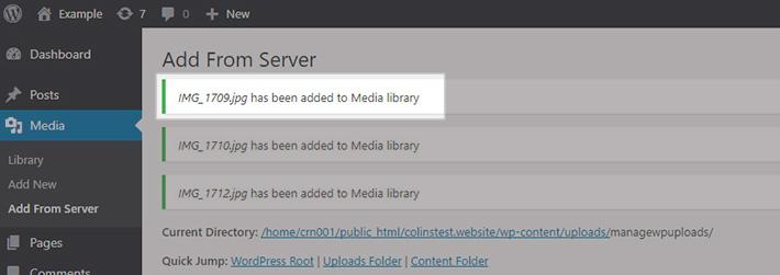 Téléchargement en masse de fichiers vers wordpress-6a
