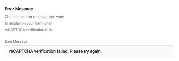 Où vous modifiez votre message d'erreur captcha.