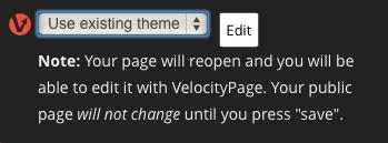 Sélection du thème VelocityPage