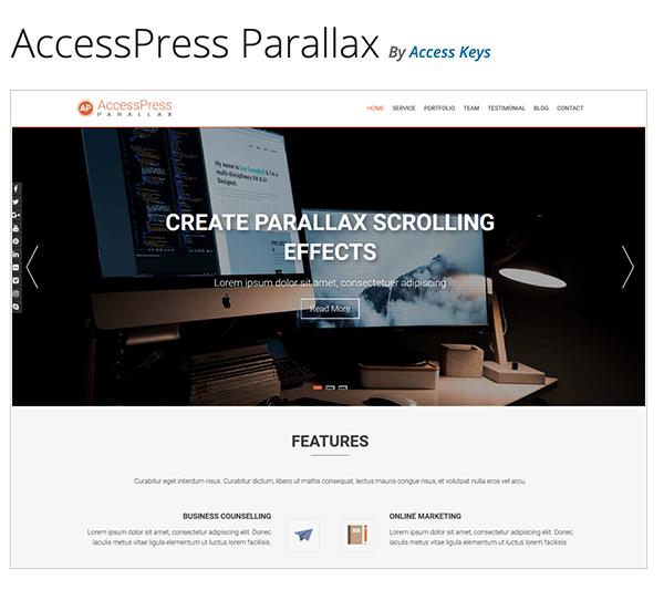 En-tête AccessPress Parallax.