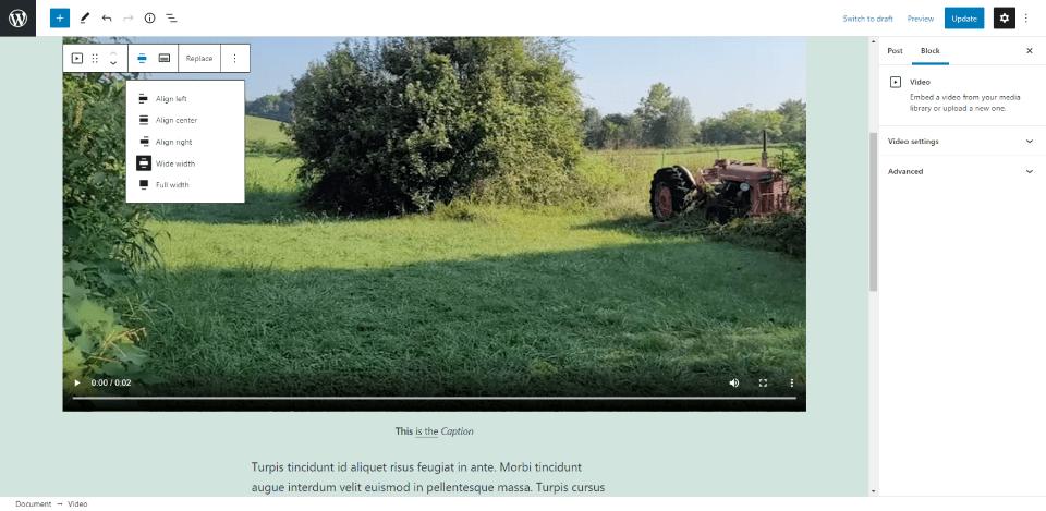 Alignement de changement de bloc vidéo