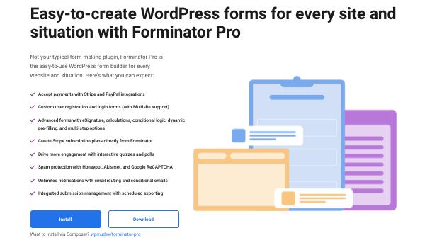 un aperçu de notre générateur de formulaires WordPress, Forminator
