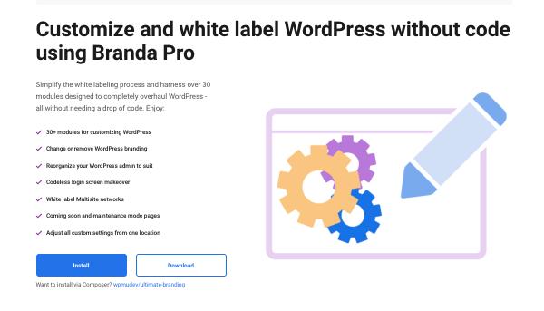un aperçu de notre plugin WordPress de branding et d'étiquetage blanc, Branda