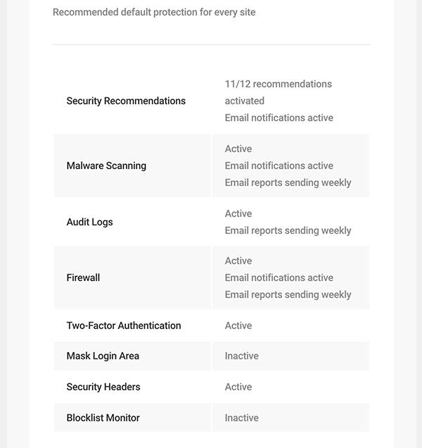 Configurations de sécurité recommandées.