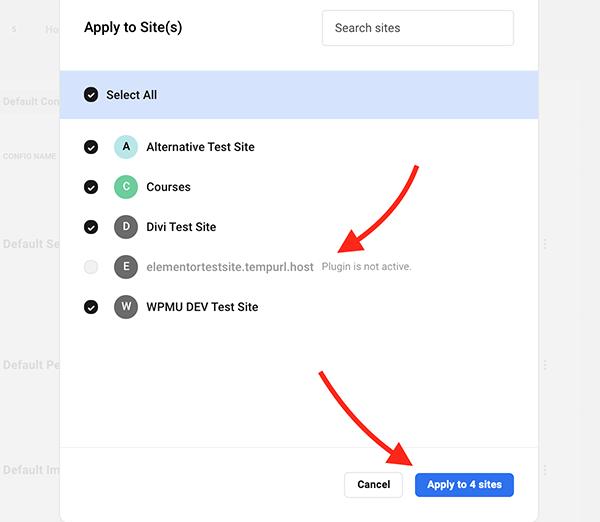 Où vous cliquez pour appliquer les configurations aux sites.