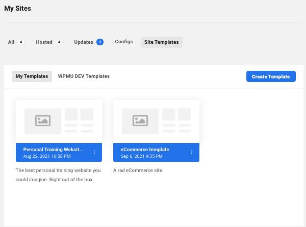 un écran montrant où vous pouvez modifier et gérer vos modèles de site personnalisés
