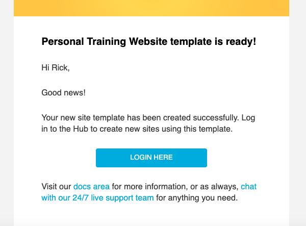 Un écran affichant l'e-mail de confirmation du modèle