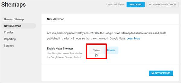 Écran SmartCrawl Google News Plan du site.