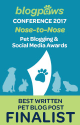 2017 BlogPaws Nose-to-Nose - BEST WRITTEN PET BLOG POST FINALIST badge