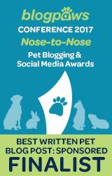 2017 BlogPaws Nose-to-Nose - BEST WRITTEN PET BLOG POST (SPONSORED) FINALIST badge