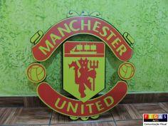 """placa decorativa time manchester united - Art's Fegas - Seu novo """"point"""" para Comunicação Visual"""