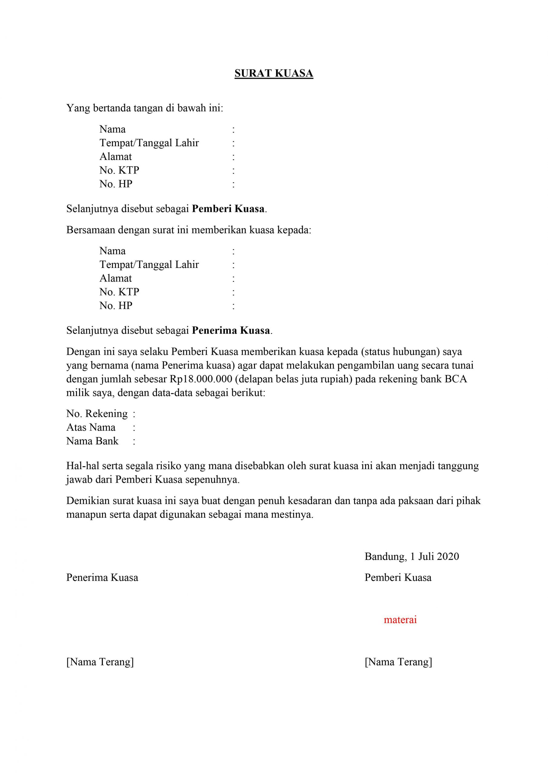 Contoh Surat Kuasa Pengambilan Barang : contoh, surat, kuasa, pengambilan, barang, Contoh, Surat, Kuasa, Untuk, Pengambilan, Benar