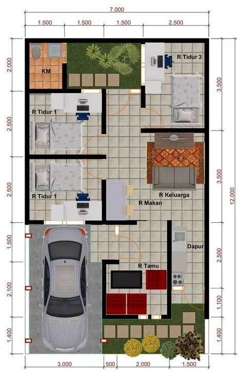 Desain Rumah 7x12 : desain, rumah, Inspirasi, Denah, Rumah, Minimalis, Lengkap, Dengan, Desainnya