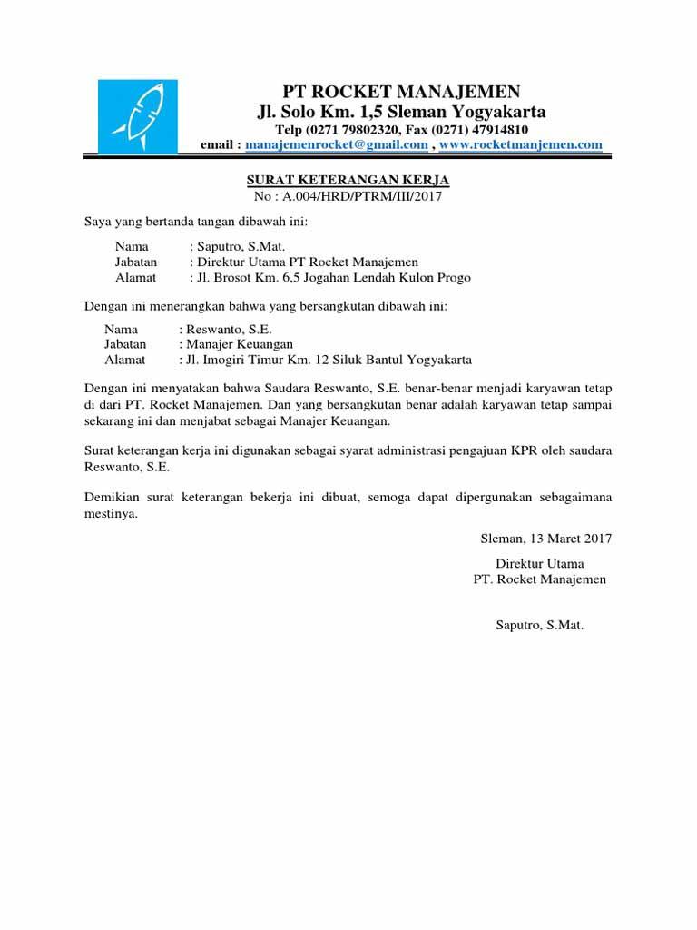 13+ Contoh Surat Keterangan Kerja Untuk KPR, Bank, Visa, DLL