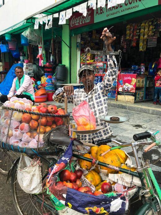 Selling fruit Kathmandu Nepal