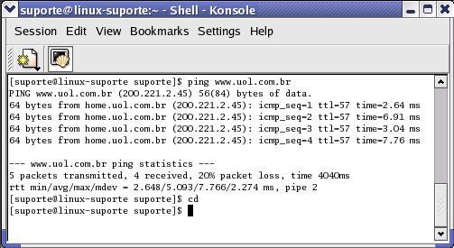 Ping no Terminal do Linux