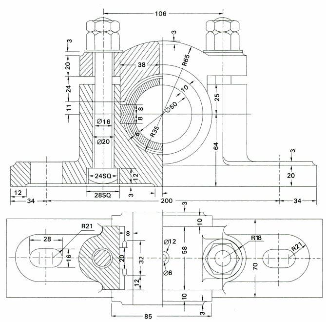 plummer block 3d diagram