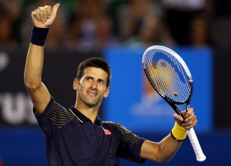 MELBOURNE, AUSTRALIA - JANUARY 16: Novak Djokovic of Serbia celebrates defeating Ryan Harrison of USA in his second round match during day three of the 2013 Australian Open at Melbourne Park on January 16, 2013 in Melbourne, Australia. (Photo by Julian Finney/Getty Images)