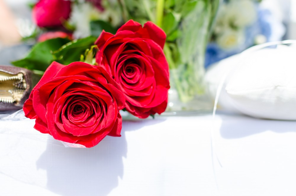 Red roses on wedding day