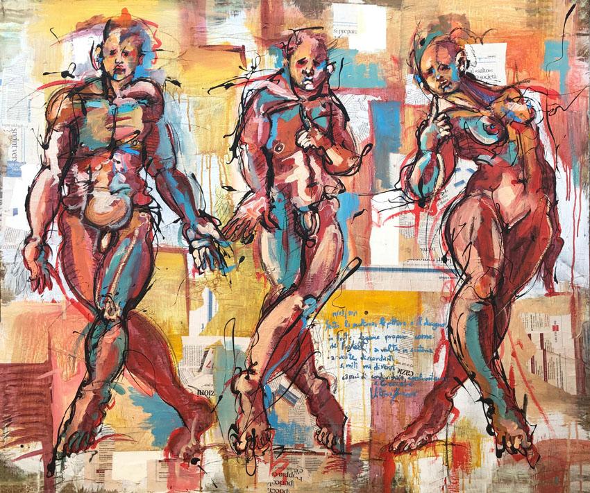 RvB-Arts_Vittorio-Iavazzo_Studio-per-i-tre-fratelli_tecnica-mista-su-carta_100-x-120-cm_light
