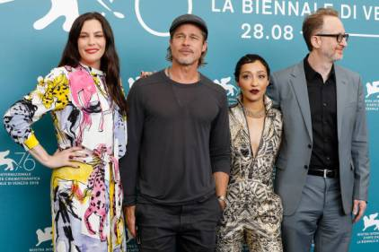 (L-R:) Liv Tyler, Brad Pitt, Ruth Negga and Director James Gray at the photo call for 'Ad Astra' during the 76st Venice Film Festival at the Sala Grande on August 29, 2019 in Venice, Italy. (Photo by: P. Lehman) (Photo credit should read P. Lehman / Barcroft Media via Getty Images)
