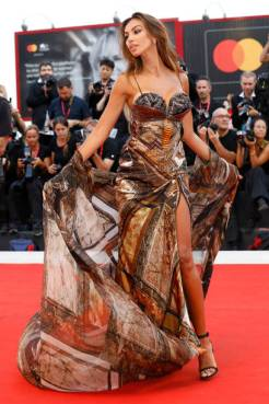 Madalina Diana Ghenea on the red carpet for the screening of 'Joker' during the 76st Venice Film Festival at the 31 on August Sala Grande, 2019 in Venice, Italy. (Photo by: P. Lehman) (Photo credit should read P. Lehman / Barcroft Media via Getty Images)