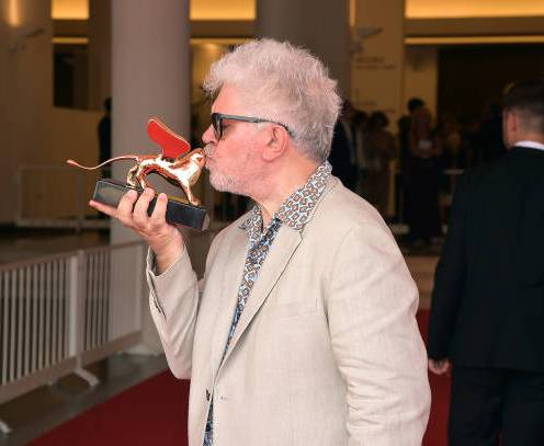 VENICE, ITALY - AUGUST 29: Pedro Almodovar with his Golden Lion Lifetime Achievement award during the 76th Venice Film Festival at Sala Grande on August 29, 2019 in Venice, Italy. (Photo by Theo Wargo/Getty Images)