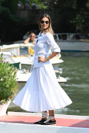 VENICE, ITALY - AUGUST 30: Melissa Satta is seen arriving at the 76th Venice Film Festival on August 30, 2019 in Venice, Italy. (Photo by Daniele Venturelli/WireImage,,)