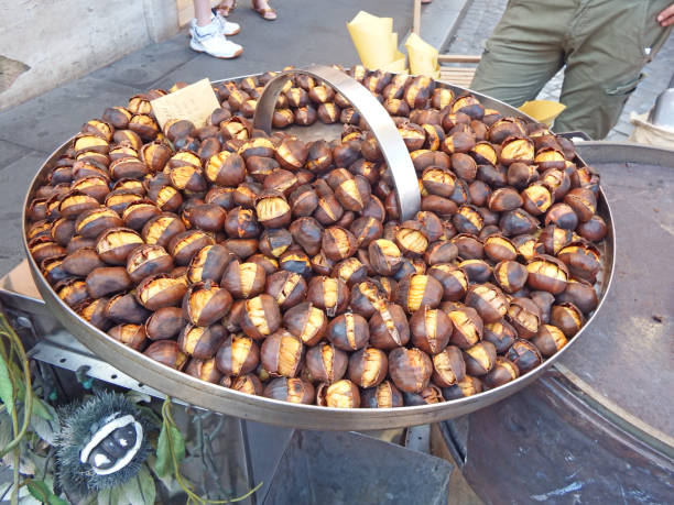 Street stall selling roasted chestnuts