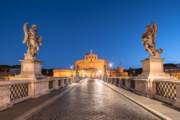 Famous Castel San Angelo and San Angelo bridge at dawn
