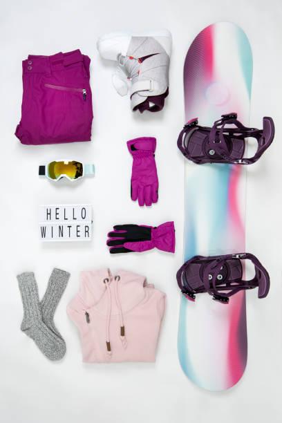 snowboarding equipment knolling
