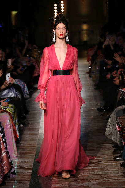 ROME, ITALY - JANUARY 24: A model walks the runway during Giada Curti Haute Couture Fashion Show Spring Summer 2020 as part of AltaRoma on January 24, 2020 in Rome, Italy. (Photo by Ernesto Ruscio/Getty Images)