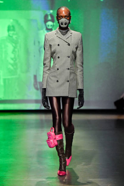 PARIS, FRANCE - FEBRUARY 25: A model walks the runway during the Marine Serre Ready to Wear fashion show as part of the Paris Fashion Week Womenswear Fall/Winter 2020/2021 on February 25, 2020 in Paris, France. (Photo by Victor VIRGILE/Gamma-Rapho via Getty Images)