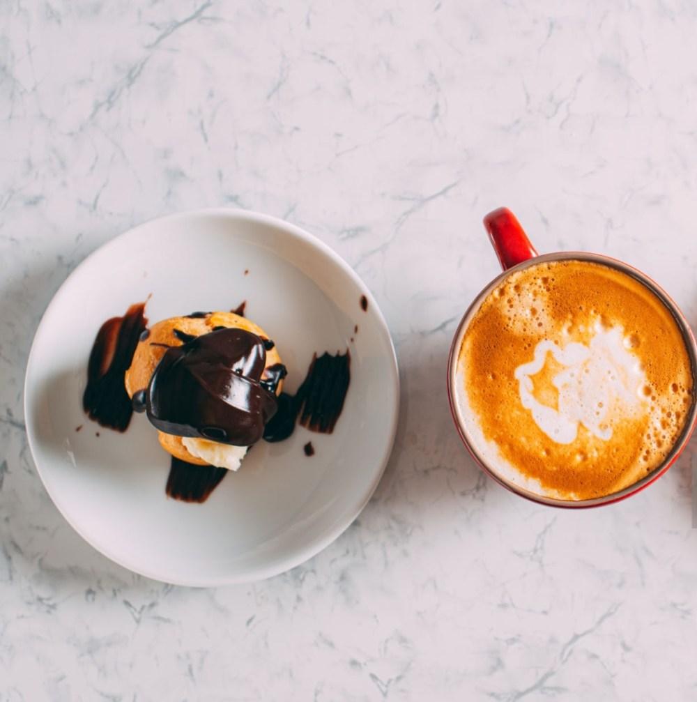 Coffee Latte and Delicious Profiterole