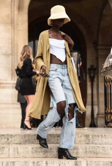 PARIS, FRANCE - SEPTEMBER 27: A model isseen outside the Balmain show during Paris Fashion Week SS20 on September 27, 2019 in Paris, France. (Photo by Daniel Zuchnik/Getty Images)