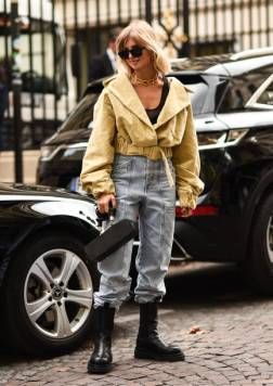 PARIS, FRANCE - SEPTEMBER 28: Xenia Adonts is seen wearing a Lemaire top, Isabel Marant jeans and Bottega Veneta boots outside the Altuzarra show during Paris Fashion Week SS20 on September 28, 2019 in Paris, France. (Photo by Daniel Zuchnik/Getty Images)