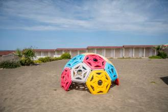 """ROME, ITALY - MAY 10: A general view of the empty and closed Summer resort facility """"La Bonaccia"""" at Ostia beach during 'phase two' of measures to tackle the Coronavirus (Covid-19) pandemic, on May 10, 2020 in Rome, Italy. Italy was the first country to impose a nationwide lockdown to stem the transmission of the Coronavirus (Covid-19), and its restaurants, theaters and many other businesses remain closed. (Photo by Antonio Masiello/Getty Images)"""