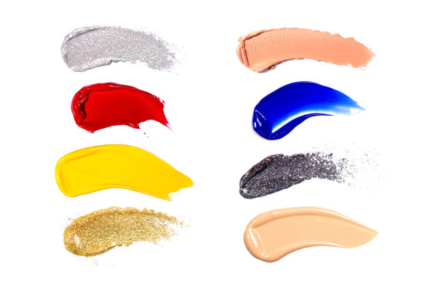 Group of colorful makeup swatches isolated on white background