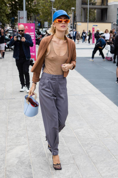 Viktoria Rader seen outside the Sportmax show during Milan Fashion Week Spring/Summer 2020 on September 20, 2019 in Milan, Italy. (Photo by Mairo Cinquetti/NurPhoto via Getty Images)